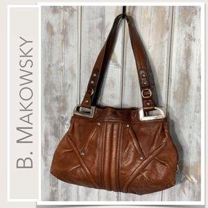 b. makowsky Brown Leather Shoulder Bag